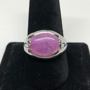 Oval Created Amethyst Sp Band  Ring